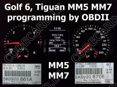 S7.18 - Dashboard repair by OBDII for VW Golf 6, Tiguan, MM5, MM7